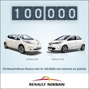 Allianz Renault-Nissan verkauft 100.000 Elektrofahrzeuge weltweit