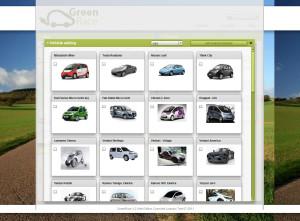 GreenRace Fahrzeugauswahl