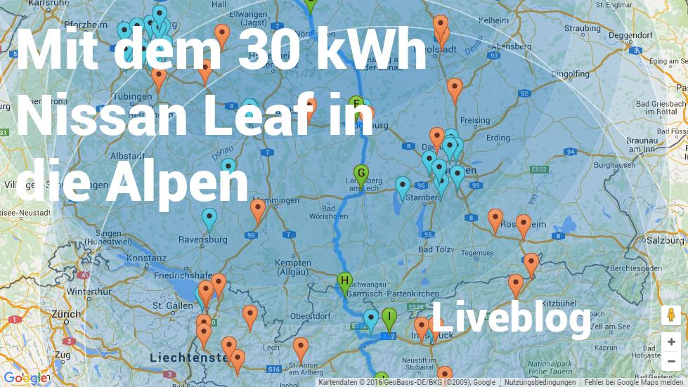 Mit dem 30 kWh Nissan Leaf in die Alpen – Liveblog