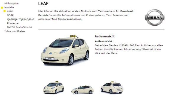 Nissan Leaf nun als Taxi erhältlich