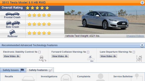 Tesla Model S erhält 5 Sterne im NHTSA Crashtest